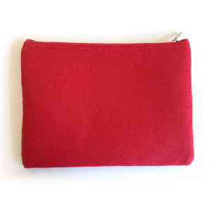 Red Felt 1-Zip Pouch