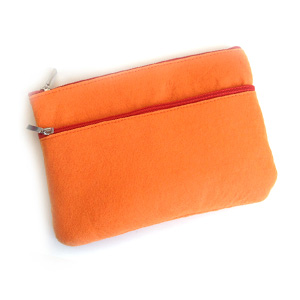 Orange Felt 2-Zip Pouch