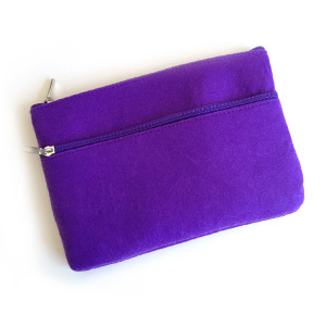 Purple Felt 2-Zip Pouch