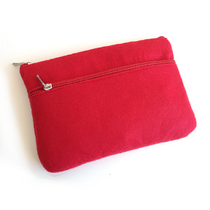 Red Felt 2-Zip Pouch