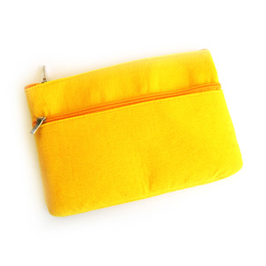 Yellow Felt 2-Zip Pouch