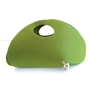 Green Felt Zip Around Clutch