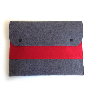 Red Double Pocket Laptop Sleeve