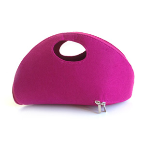 Fuchsia Felt Zip Around Clutch