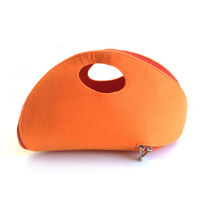 Orange Felt Zip Around Clutch