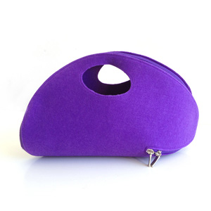 Purple Felt Zip Around Clutch