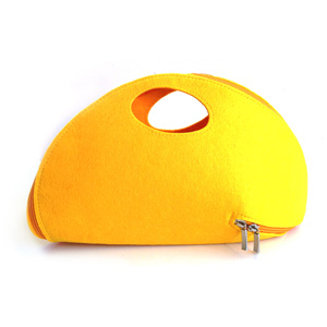 Yellow Felt Zip Around Clutch